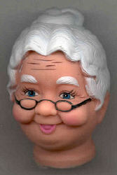 Full Doll Head - Old Woman - 3 inches