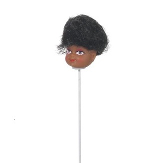 Doll Head Pick - African American with Black Hair - 1 inch