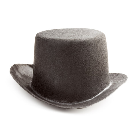 Black Top Hat - Felt - 6.125 x 5 x .375 inches