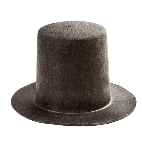 Black Stovepipe Top Hat - 5-3/4 x 5-1/2 x 3-3/8 inches