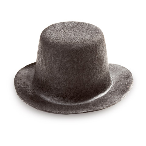 Doll Hat - Felt - Top Hat - Black - 3.75 inches