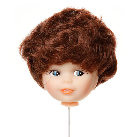 Doll Head Pick - Caucasian with Brown Hair - 2 inches