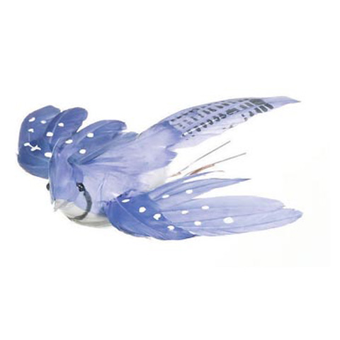 Feathered Bird - Blue Jay - Blue and White - Flying - 5 inches