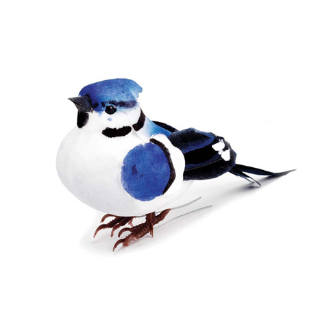 Feathered Mushroom Bird - Blue Jay - 3-3/4 inches