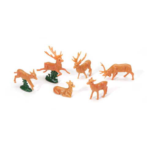 Deer - Plastic - 6 assorted styles - 1 inch - 6 pieces