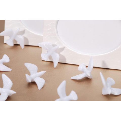 Miniature Doves - Plastic - White - 15 pieces