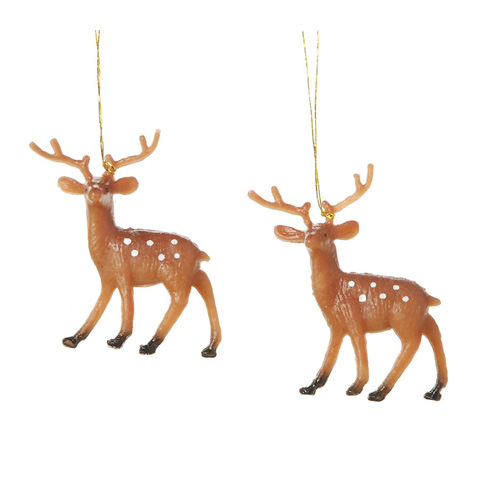 Miniature - Plastic Painted Reindeer - 1.75 inches - 4 pieces