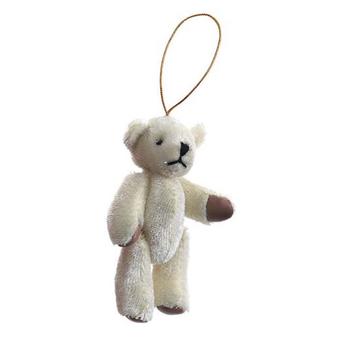 Bear - with Gold String Hanger - Beige - 3 inches - 1 piece