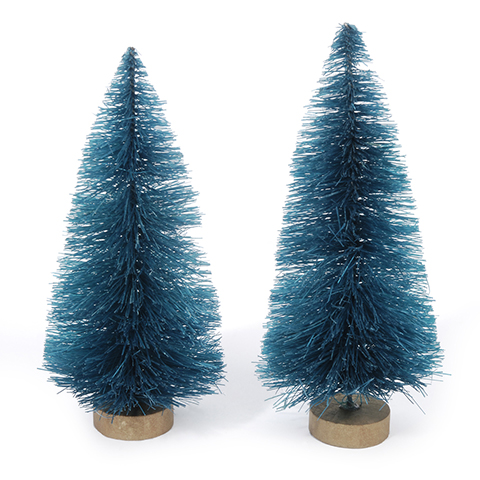 Sisal Bottle Brush Tree - Green Christmas with Frost - 3 inches - 2 pieces