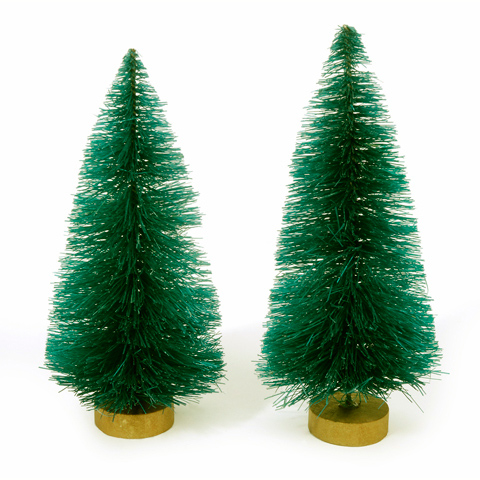 Sisal Bottle Brush Trees - Green Christmas - 4 inches - 2 pieces