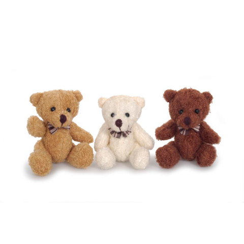 Plush Bear - Fully Jointed - with Bowtie - 3 Colors - 4 inch - 3 bears per package.