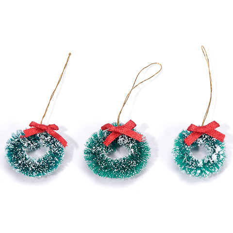 Sisal Wreath - Green with Frost and Red Bow - 1 inch - 3 pieces
