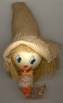 Scarecrow head - 6 inch - burlap hat - on a wire pick - 1 piece