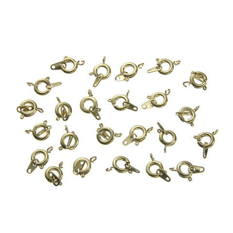 Spring Ring Clasp with Eyelet - Gold Plated Brass - 7mm - Big Value