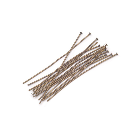 Head Pins - Antique Brass Plated Brass - 2 inches - 36 pieces