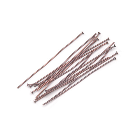 Head Pins - Antique Copper Plated Brass - 2 inches - 36 pieces