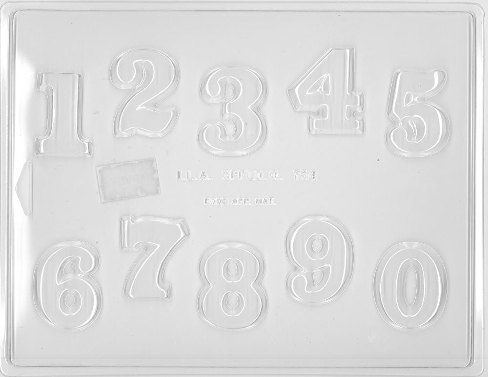 Numbers 0 - 9 Mold - 1-3/4 inch - Plastic