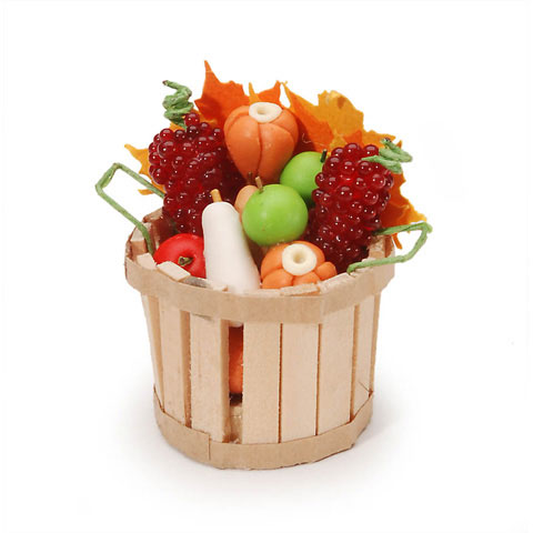 Miniature - Fall Basket with Fruit & Vegetables - 1 inch - 1 set