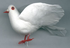Dove - 4 inch - White Flocked - with Pearls