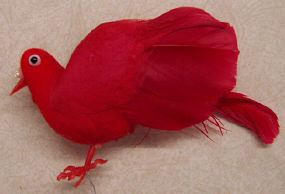 Dove - 4 inch - Red Flocked - with Pearls