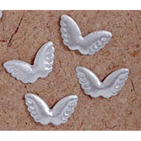 2418-29 Angel Wings - Fabric - Puffy - Silver - 2 in - 4 pcs