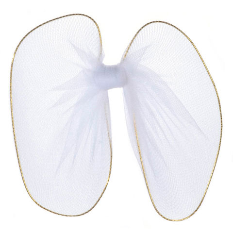Angel Wings - Nylon Mesh, Gold Trim - White - 4.75 in