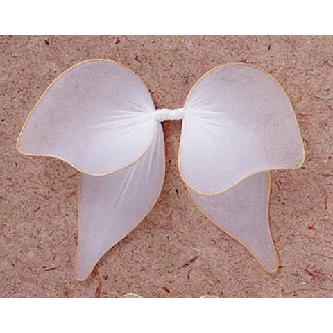 Angel Wings - Nylon Mesh, Gold Trim - White - 9 x 8 in