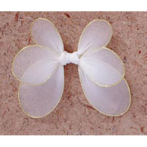 Angel Wings - Nylon Mesh / Gold Trim - White - 4.25 x 4.25 in