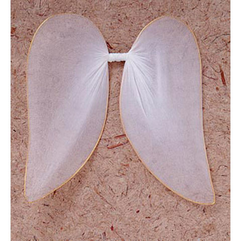 Angel Wings - Nylon Mesh, Gold Trim - White - 7.75 in