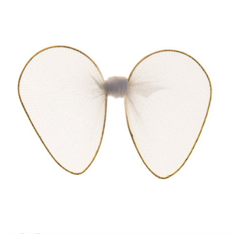 Angel Wings - Nylon Mesh, Gold Trim - White - 2.5 x 3.25 in
