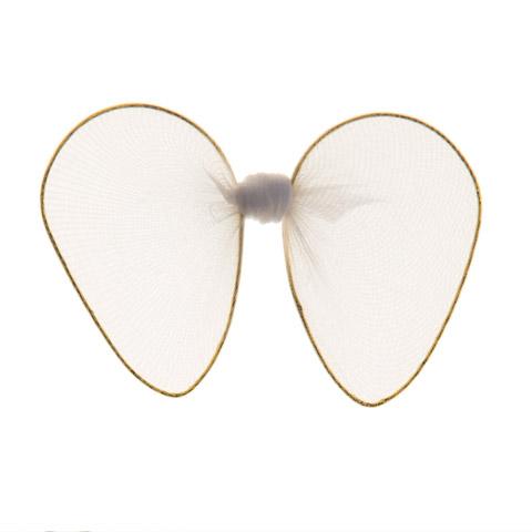 Angel Wings - Nylon Mesh, Gold Trim - White - 2 x 3.25 in