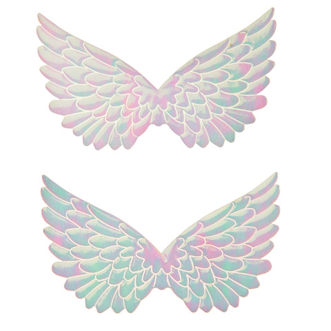 Angel Wings - Fabric - Embossed - White Iridescent - 3.75 in - 2 pcs