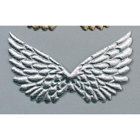 Angel Wings - Fabric - Embossed - Silver - 4.75 in - 2 pcs