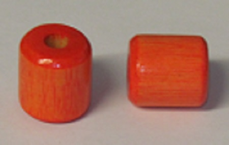 Wood Bead - Cylinder - Orange - 1 inch - 100 pieces