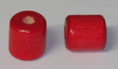 Wood Bead - Cylinder - Red - 1 inch - 100 pieces
