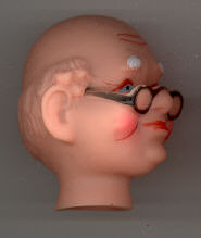 1-1/2 inch - Vintage -  Grandpa doll head