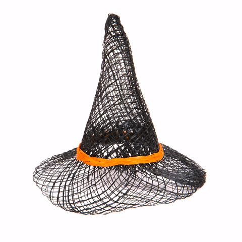 Sinamay Witch Hat with Orange Band - 3 inches