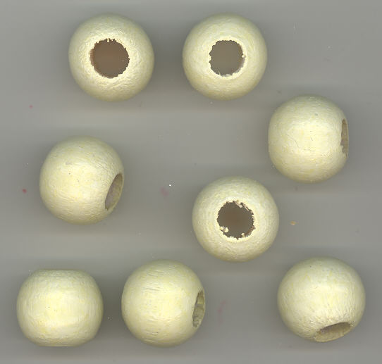 Wood Bead - Ivory - Round - 16mm with 6mm Hole - 12 pieces