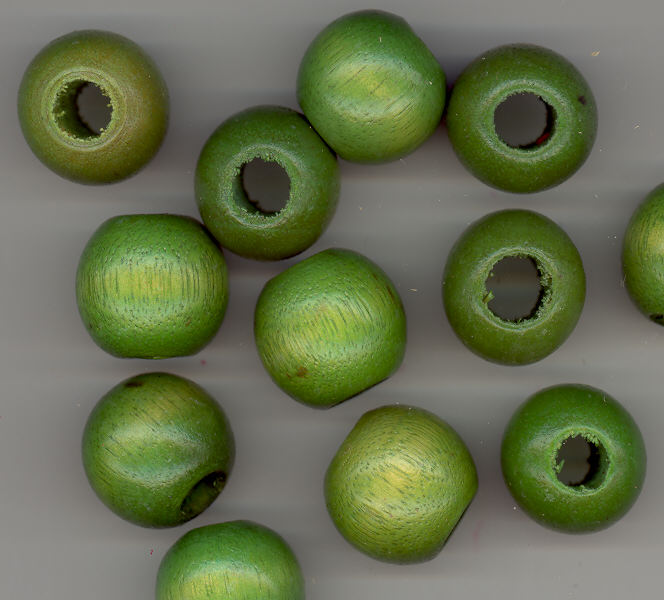 Wood Bead - Moss - Round - 20mm with 7mm Hole - 12 pieces