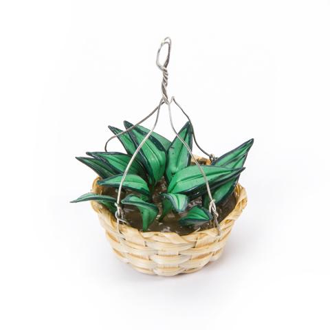 Timeless Minis™ - Handmade Boston Fern Hanging Basket - 1.25 x 2 inches