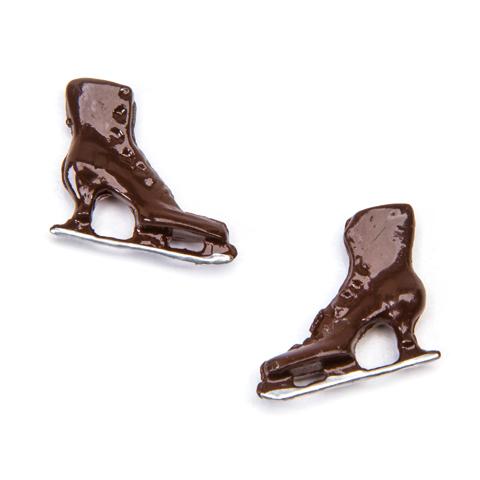 Timeless Minis™ - Ice Skates - Metal - Brown - .75 x .625 inches - 2 piecs.