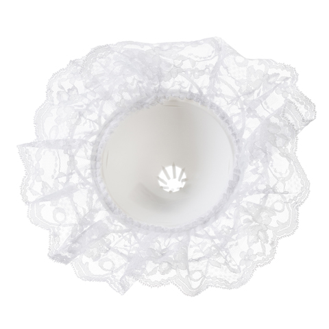 Bouquet Holder - White Lace - 9 inches with a 10 inch diameter