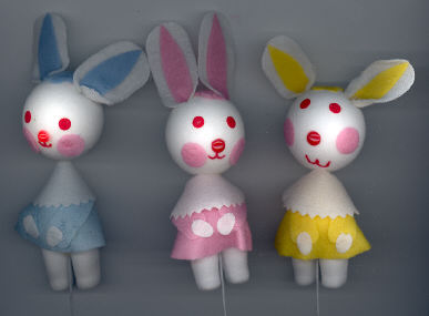 Flocked Rabbit with Felt - on wire pick - 24 assorted rabbits