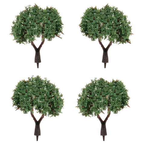 Diorama Tree with Powder Leaves - 1 inch - 4 pieces