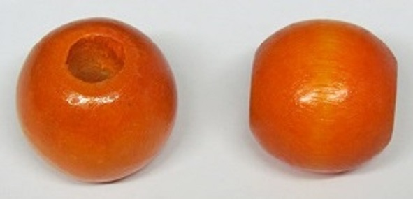Wood Bead - Round - Orange - 35mm - 50 pieces