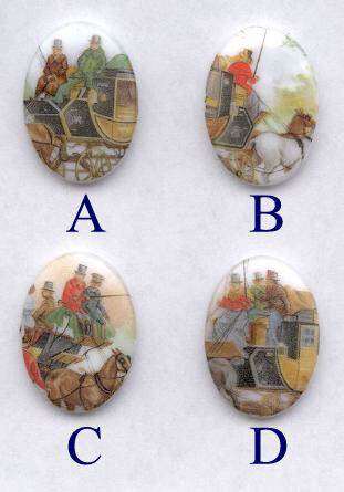 Carriage Porcelain Paintings - 25 x 18 mm - 12 pieces