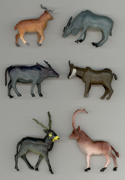 African Animals - 1 inch to 2-3/4 inch tall - 6 pieces