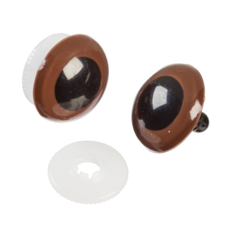 Animal Eyes with Plastic Washers - Brown - 24mm - 2 pieces