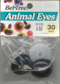 Animal Eyes with Plastic Washers - New Brown - 30mm - 2 pieces