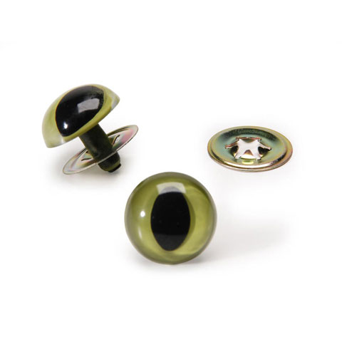 Cat Eyes with Metal Washers - Green - 18mm - 2 pieces 
